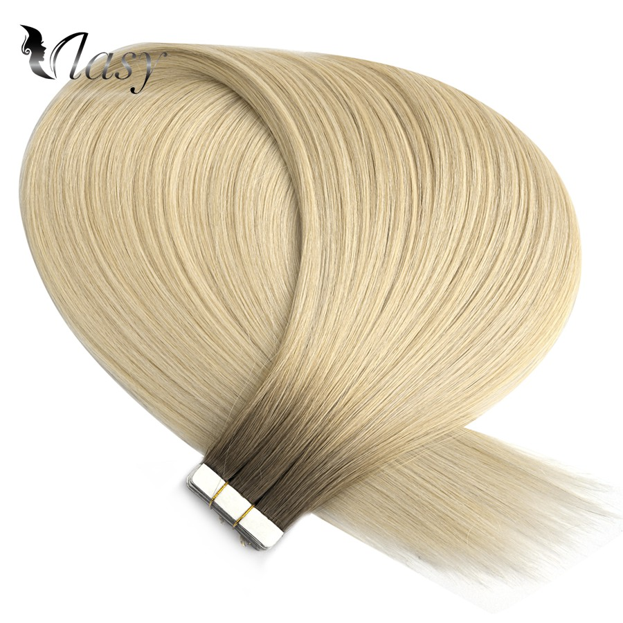 Vlasy 16'' 20'' Seamless Straight Remy Tape In Human Hair Double Drawn Skin Weft Tape In Human Hair Extensions