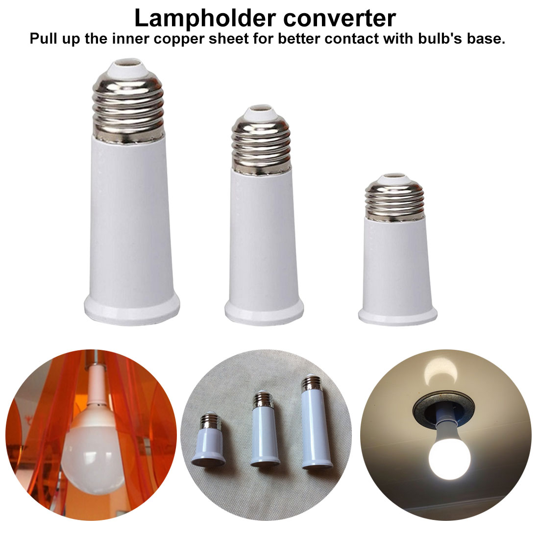 Extension Light Bulb Holder Screw Adapter E27 To E27 Lengthen Lamp Base Converter LED Light Base E27-E27 Extender Lamp Socket