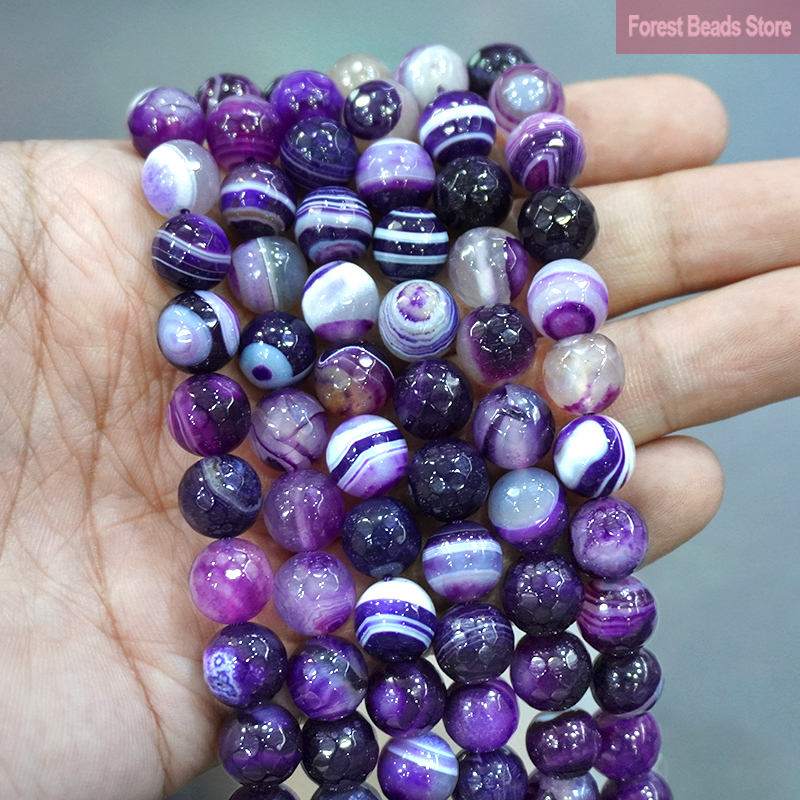 Faceted Natural Purple Striped Agates Onyx Round Loose Beads DIY Bracelet Accessories For Jewelry Making 15'' 4/6/8/10/12mm