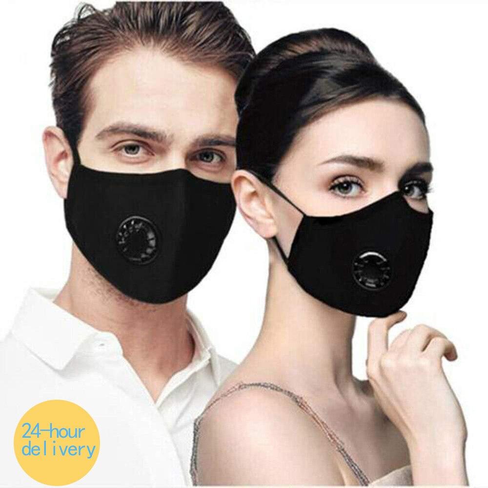 Black Mouth Mask Dust Respirator Washable Reusable Face Unisex Mouth Muffle Allergy/ CyclingAnti Pollution Mondkap Cotton Mask