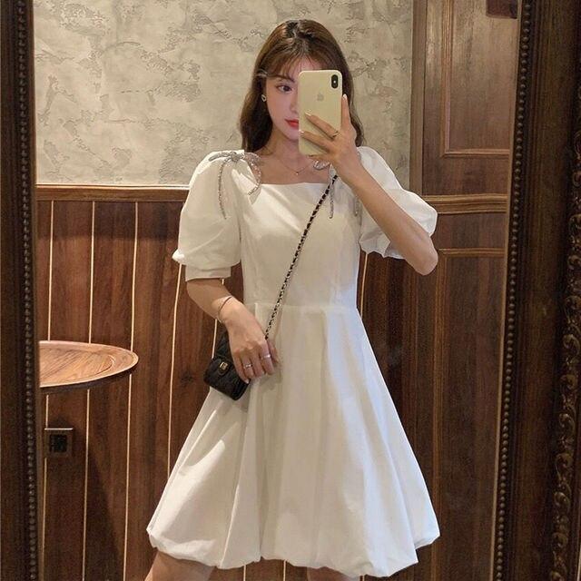 Summer Mini Dress Women White Puff Sleeve Korean Style Fairy Dress Bows Chiffon Japan Style Kawaii Elegant Vintage Party Dress 3