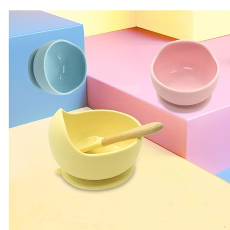 Children Tableware Baby Sucker Bowl Baby Silicone Bowl Spoon Mounted Integrated Portable Anti-fall Out Complementary Food Traini