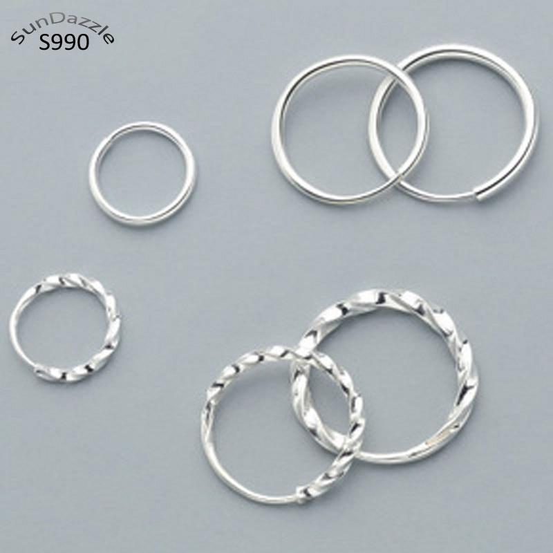 Genuine Real Pure Solid S990 925 Sterling Silver Hoop Earrings For Women Girl Child Jewelry Female Round Hoop Earrings Bijoux
