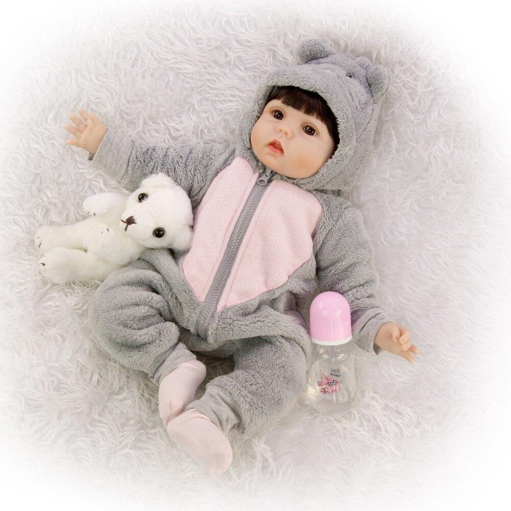 55cm 3/4 Silicone Reborn Baby Doll Toy girls gift smooth hair emulation Newborn Princess Babies real Bebe reborn dolls 22