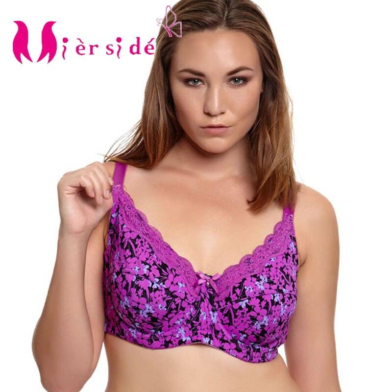 Underwear Women Lace Printing Push Up Bra Female Lingerie Plus Size 30 46 C//D//DD//DDD//E//F//FF//G,Black,F,30