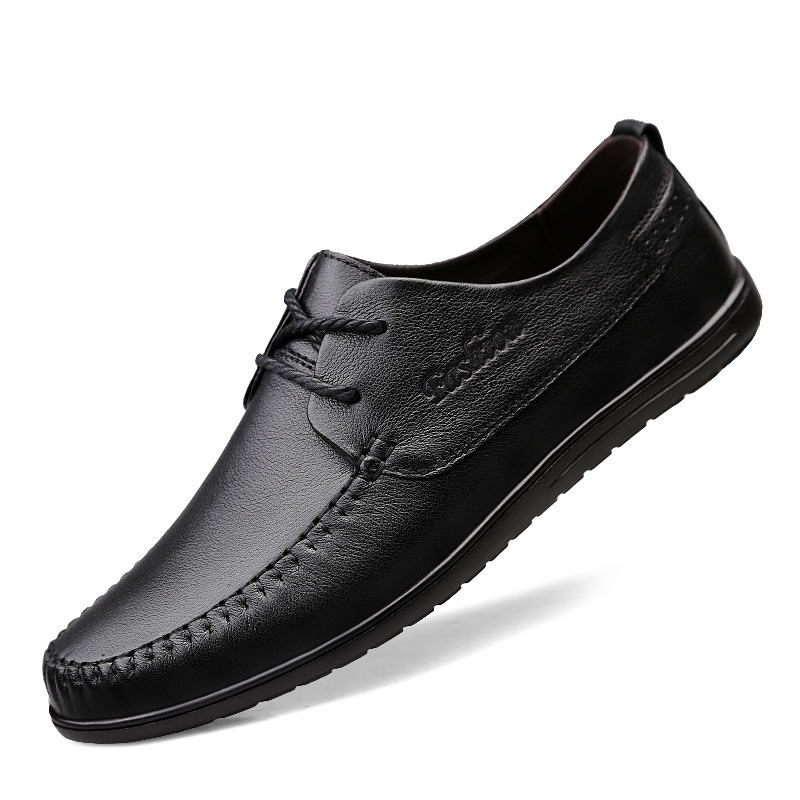 2020 Men's Breathable Casual Leather Shoes Big Size 36-46 Lace-up Male Shoes Genuine Leather Daily Leather Shoes Four Seasons %