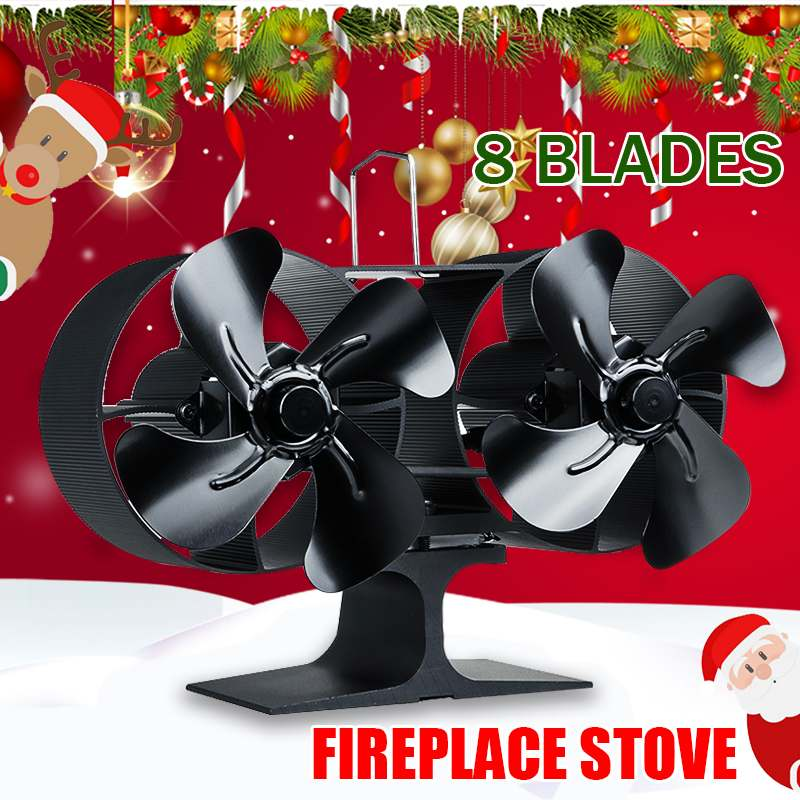 8 Blade Dual Head Wall Mounted Stove Fan Fireplace Fan Heat Powered 220CFM Wood Burner Eco Fan Home Heat Distribution Efficient