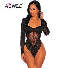 ADEWEL Sheer Long Sleeves Padded Black Lace Bodysuit Long Sleeve V-Neck Mesh Sheer Lace Bodysuits Sexy Body Mujer Romper