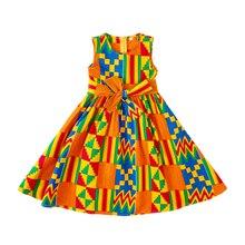African kids dress baby girl kente batik Print Ankara Dresses african Dashiki Traditional Clothing for