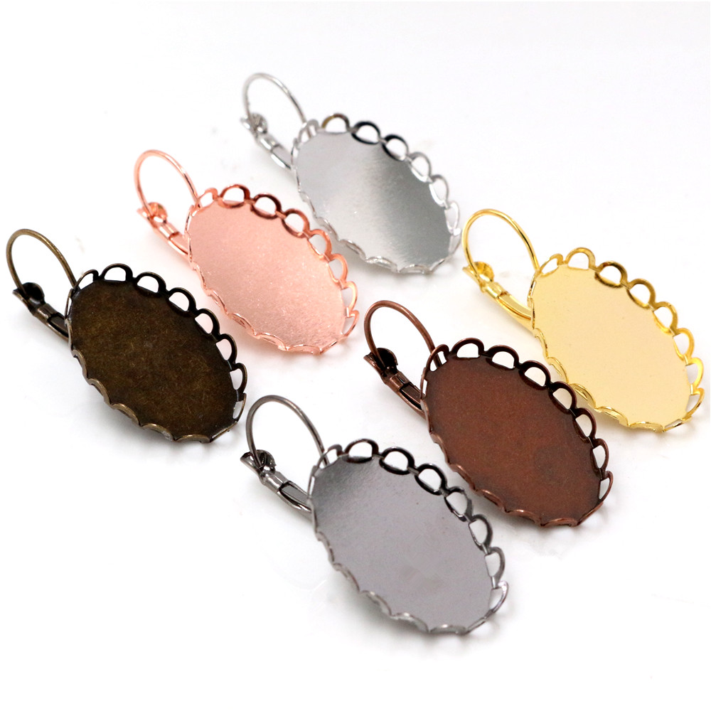 13x18mm 18x25mm 10pcs 7 Colors Plated French Lever Back Earrings Blank/Base,Fit 13x18/18x25mm Oval Glass Cabochons