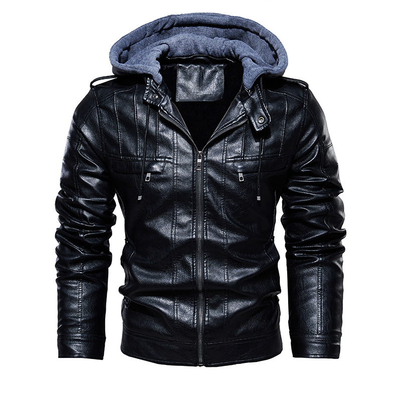 2020 Men Vintage Motorcycle Jacket Mens Outdoor Casual PU Leather Jacket Man Winter Coat Hooded Collar Club Bomber Jackets 1