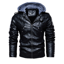 2020 mężczyźni Vintage motocykl kurtka mężczyzna odkryty Casual kurtka ze skóry sztucznej płaszcz zimowy męski kołnierz z kapturem klub kurtki-pilotki tanie tanio leviortin STANDARD Suknem Skóra i zamszowe Hat odpinany Poliester pu leather jacket T24 Stałe REGULAR Stojak Zamki zipper