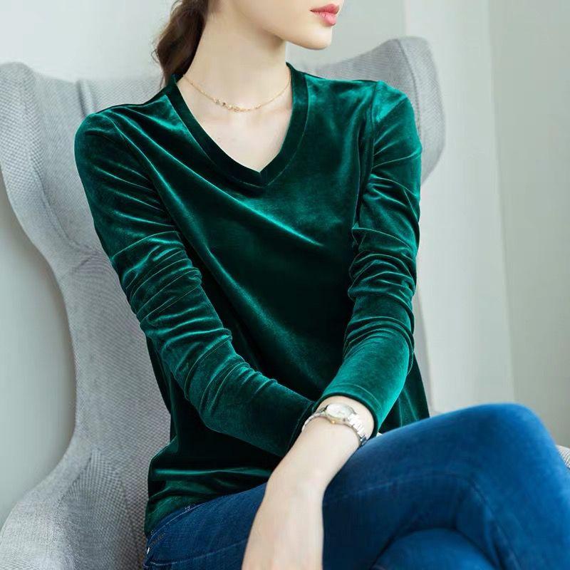 2019 Autunm Korean Women Tops And Blouses ,M- 6XL 7XL Plus Size Spring Long Sleeve Velour Blouse, Plus Size Velvet Blusas Mujer