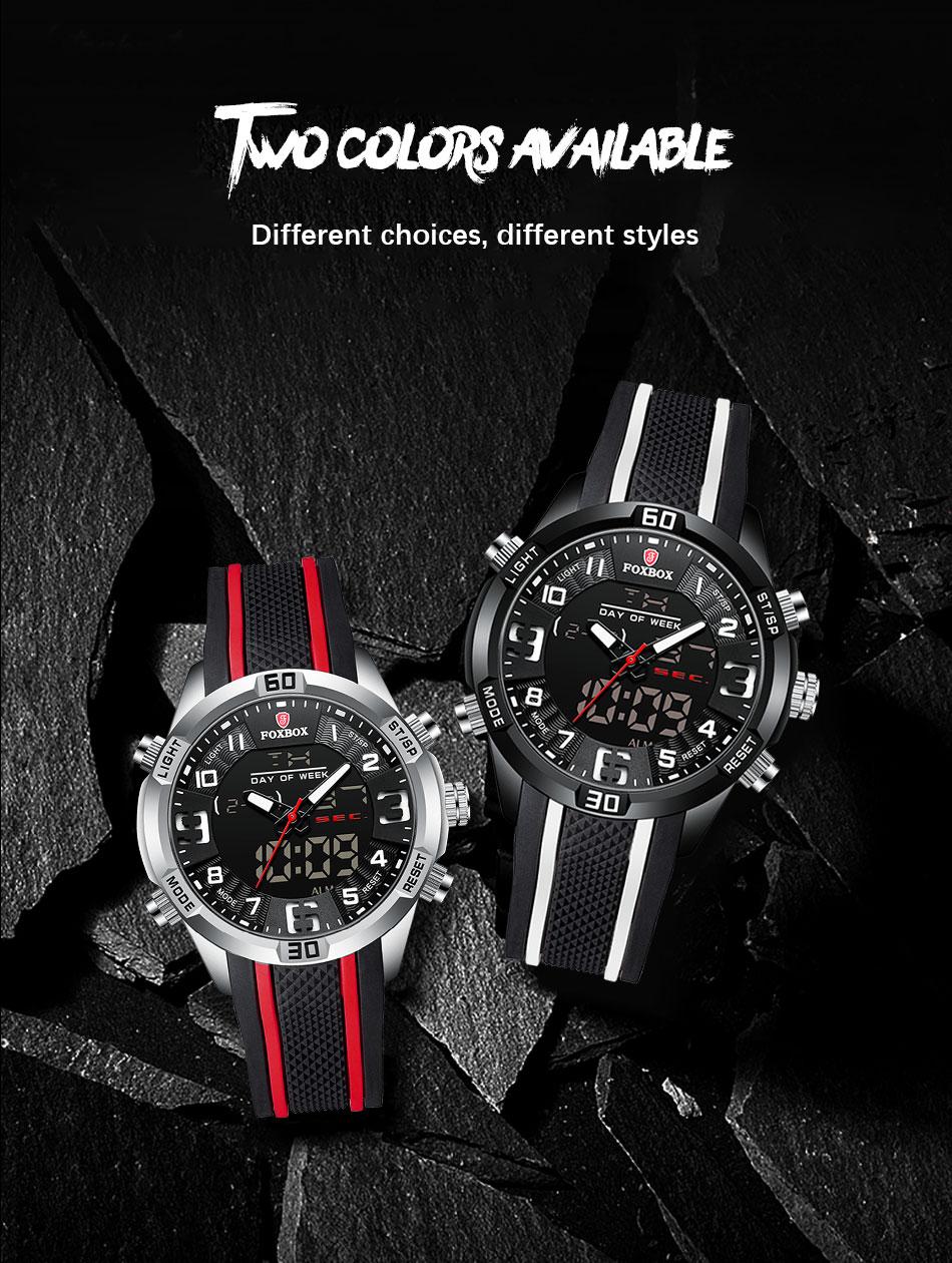 H34cf1c02106c4e0a9b01e7fd92e781edL Watch For Men FOXBOX Top Brand Luxury Dual Display