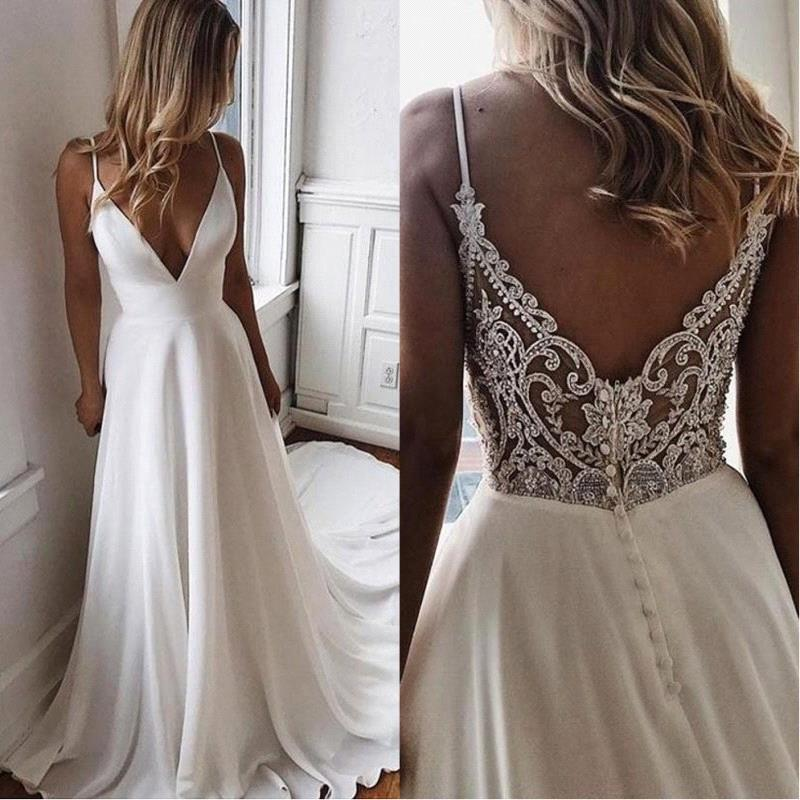 Wedding-Dress Bridal-Party-Dress Bride Boho Chiffon Long V-Neck White Beach Summer Simple title=