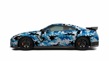 Snow Camouflage Blue Black White Vinyl Camo Car Wrap Film With Air Release PVC Adhesive Car Wrapping Stickers
