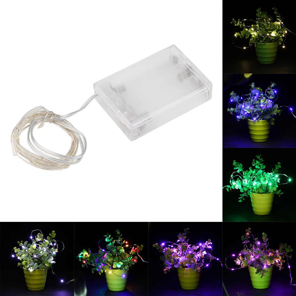 Icoco 2/3/5/10 M LED 3AA Baterai Perak Kawat String Peri Cahaya Lampu untuk Festival liburan Natal Pesta Weddin Decor DROP Kapal