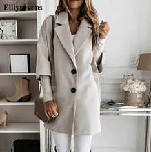 Women Turn-down Collar Button Woolen Coat Autumn Winter Long Sleeve Jacket Elegant Office Lady Plus Size Tops Long Coats#2 cheap Eillysevens CN(Origin) Spring Autumn 1021 Ages 18-35 Years Old Single Breasted Regular Full Wide-waisted Pockets High Street
