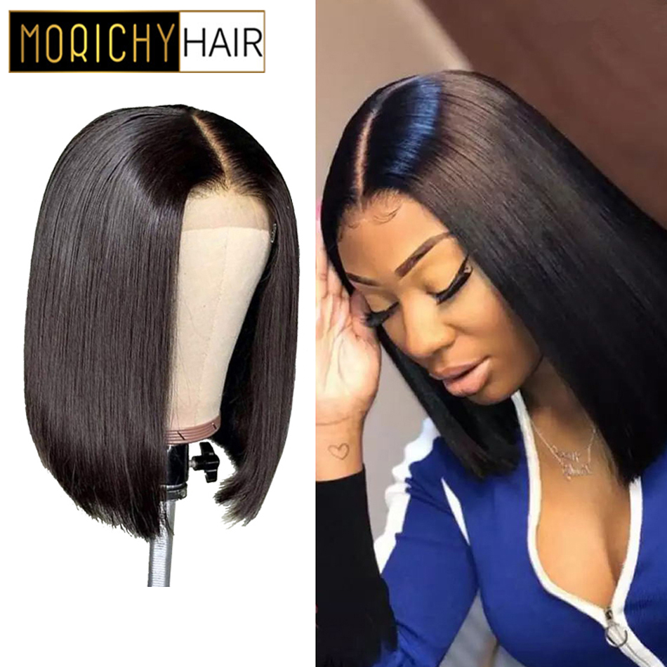 Morichy 4X4 Closure Wig Brazilian Straight Lace Closure Human Hair Wigs Pre Plucked With Baby Hair Non Remy Wigs 150 Density