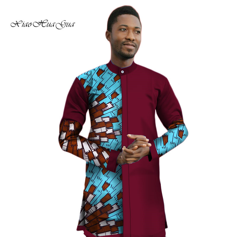 2020 New Mens African Clothing Casual Shirts Bazin Riche Patchwork Print Tops Shirt Cotton Dashiki African Men Clothes WYN446