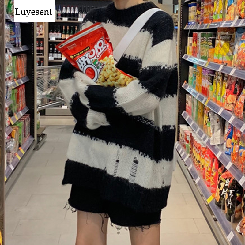 Punk Striped Cool Women Pullover Sweater Loose 2019 Lady Hole Slit Knit Top O Neck Hollow Out Gothic Jumpers Winter Warm Outdoor