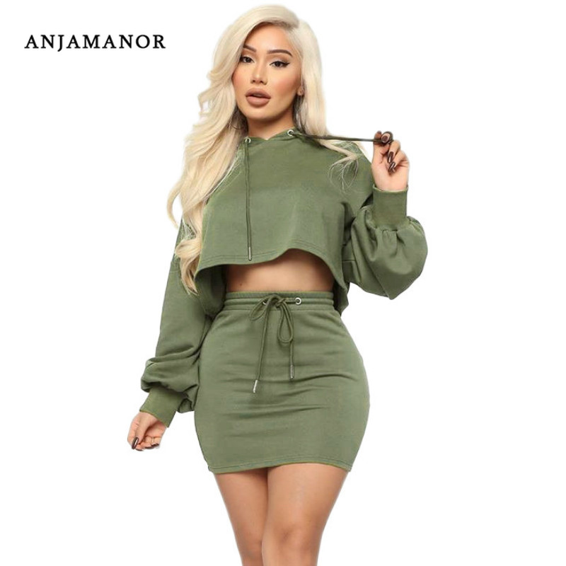 ANJAMANOR Sexy Two Piece Set Hooded Crop Top And Skirt Fall Winter Workout Sweat Suits 2 Piece Sets Womens Outfits D74-AD31