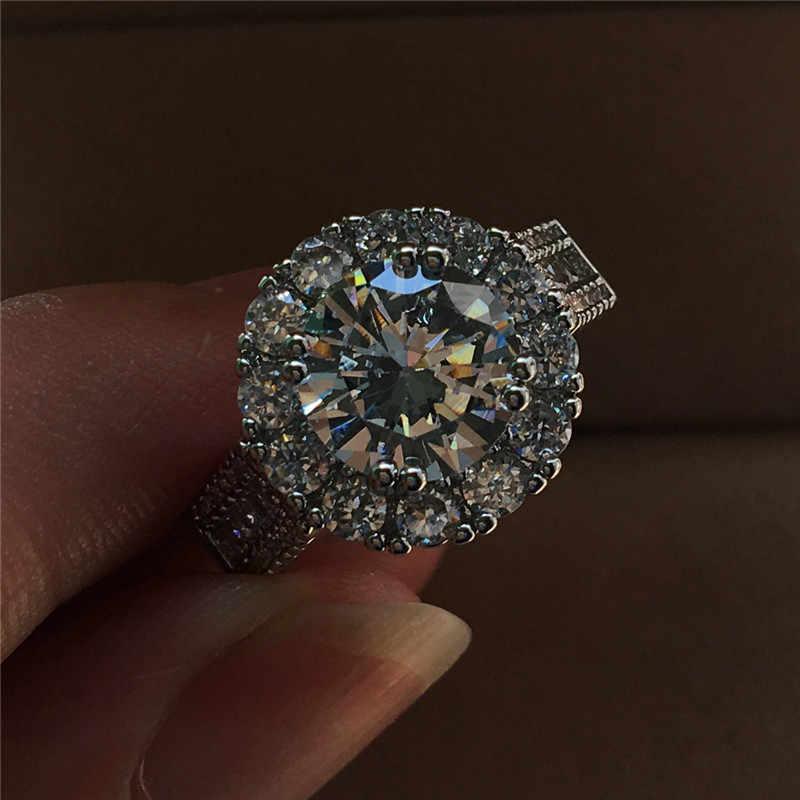 หญิงหรูหราขนาดใหญ่รอบคริสตัลแต่งงานแหวนแฟชั่นเงิน Zircon ขนาดเล็กหินแหวนสัญญาหมั้นแหวน