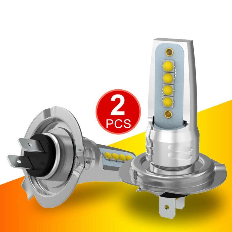 2PCS H7 LED Headlight Fog Lamps COB Bulb Canbus 12W 600LM Waterproof High Low Beam Car Light Assembly