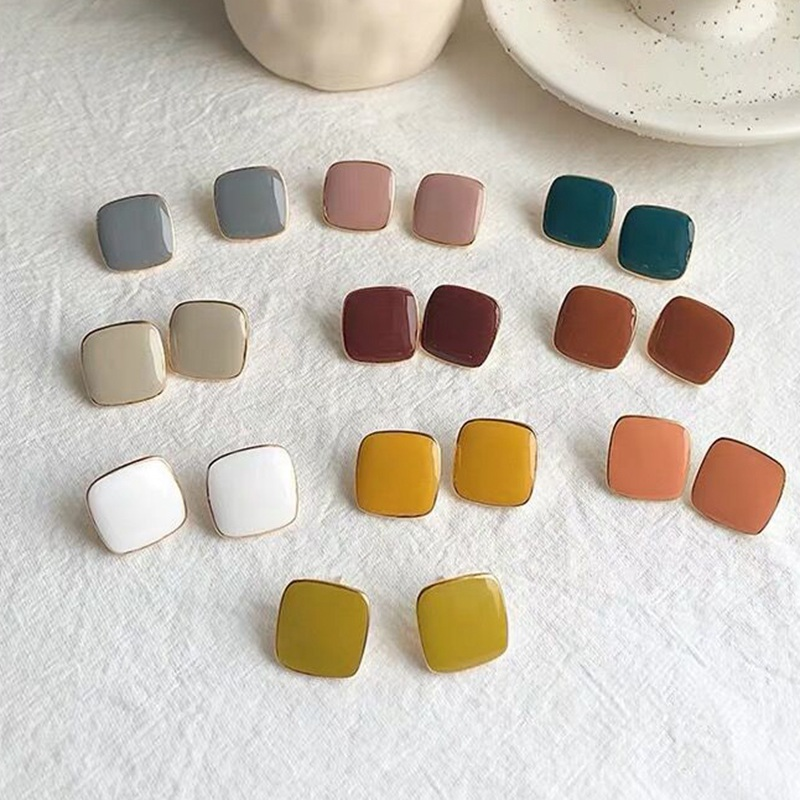 MENGJIQIAO New Cute Vintage Colorful Enamel Square Glaze Stud Earrings For Women Fashion Boucle d'oreille Brincos Jewelry