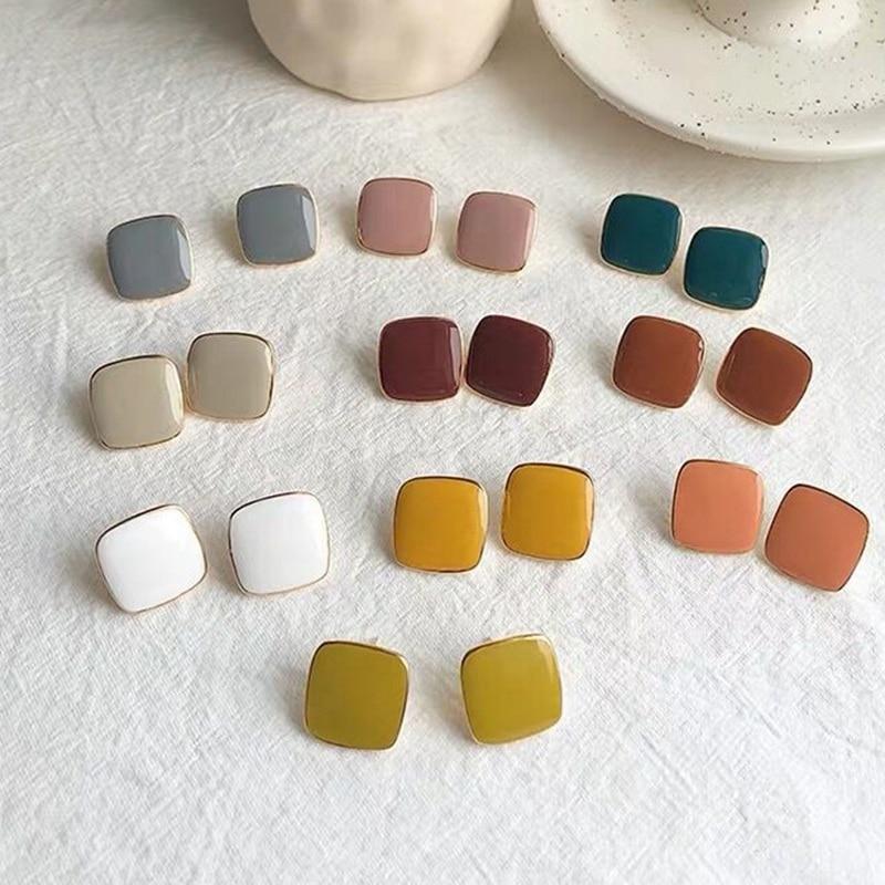 MENGJIQIAO New Cute Vintage Colorful Enamel Square Glaze Stud Earrings For Women Fashion Boucle d'oreille Brincos Jewelry