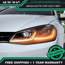 Araba stil kafa lambası VW Golf7 farlar Golf 7 MK7 MK7.5 2013 2017 LED far H7 D2H Hid melek gözü Bi Xenon ışın