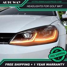 รถจัดแต่งทรงผมหัวสำหรับ VW Golf7 ไฟหน้า Golf 7 MK7 MK7.5 2013 2017 LED ไฟหน้า H7 D2H HID angel Eye Bi Xenon Beam