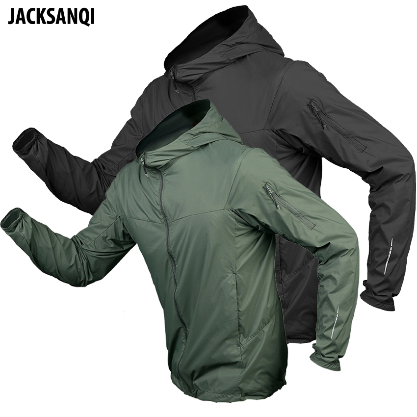 JACKSANQ Men's Hiking Hooded Quick Dry Skin Clothing Outdoor Sport Sun Protection Camping Trekking Climbing Male Overcoat RA340