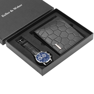 Image 3 - Unique Men Quartz Watch Genuine Leather Wallet Gift Set Practical Pin Buckle Watches Business Style Male Clock Top Gifts 2019