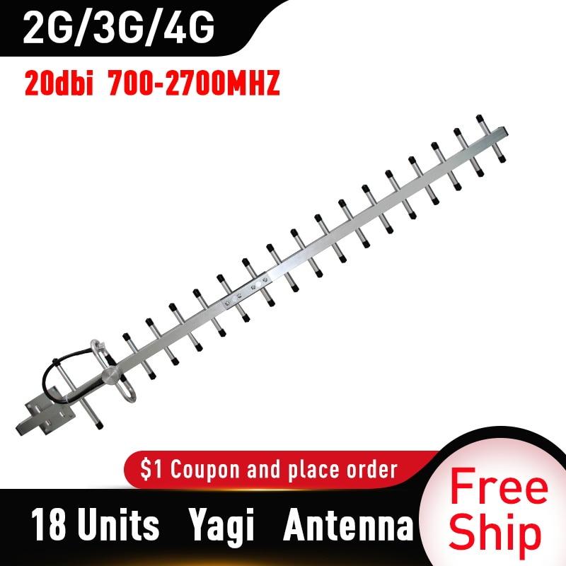 2g 3g 4g Antenna 20dBi Gain Yagi Antenna 700-2700mhz Outdoor Antenna 3G 4g Lte External Yagi Antenna With N Female