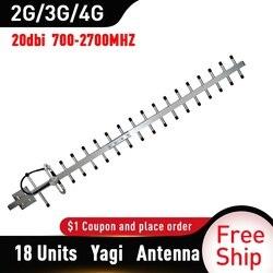 Antena Yagi 2g 3g 4g 20dBi Gain 700-2700mhz antena exterior 3G 4g Lte Antena Yagi externa con N hembra