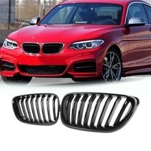 2Pcs Car Grille Fit for-BMW 2 Series F22 F23 M235 2014 2015 2016 2017 2018 Bright Black