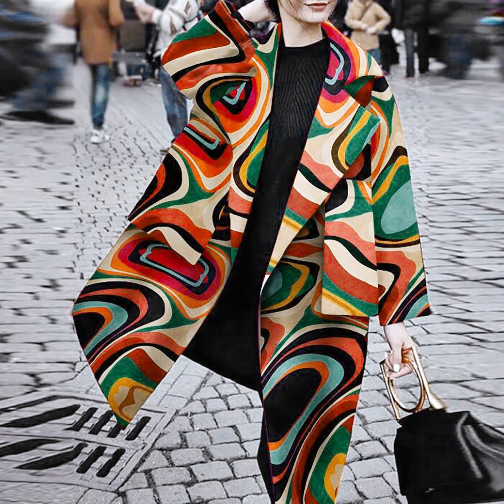 Winter Coat Women Wool Coat Long Coat пальто женское Fashion Lapel Print Long Sleeve Pocket Casual Overcoat Free Ship Z4(China)