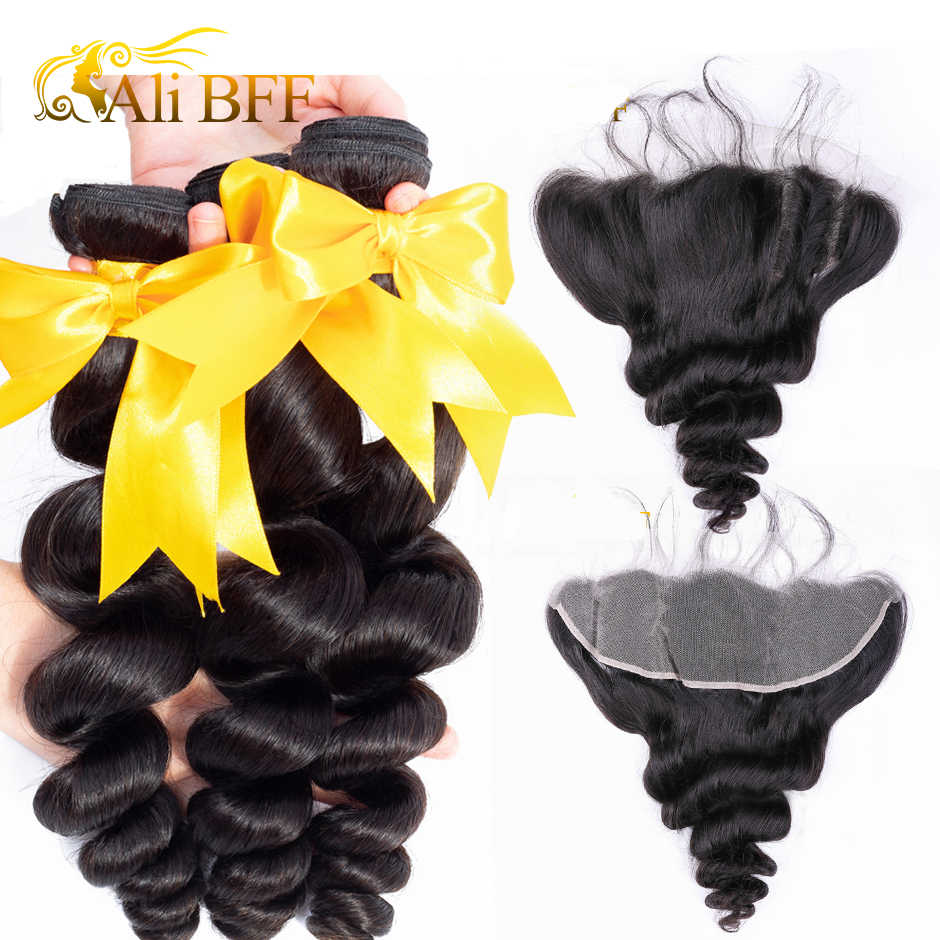 Mechones de cabello humano ALI BFF malasio con ondas sueltas y cierre Frontal, extensiones de cabello humano mechones con cierre Frontal, rizo hinchable teñible