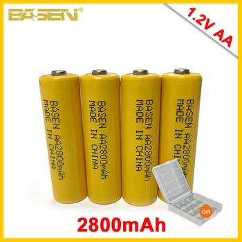 цена на BASEN 4Pcs AA Rechargeable Batteries 1.2V AA 2000mAh Ni-MH 2A Rechargeable Battery for Camera Flashlight