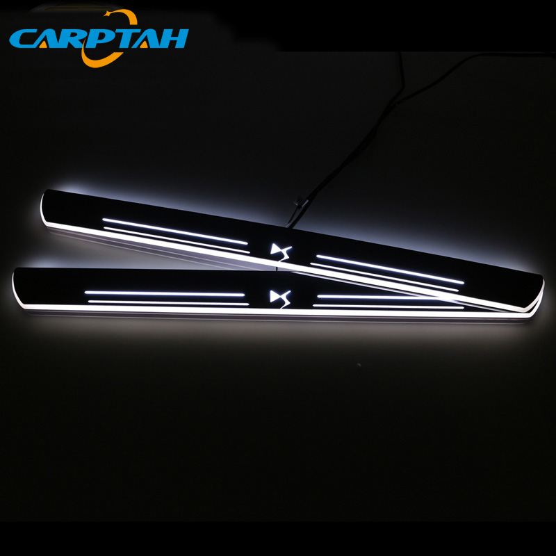 CARPTAH Trim Pedal Car Exterior Parts LED Door Sill Scuff Plate Pathway Dynamic Streamer light For Citroen DS6 2014 2015 2016