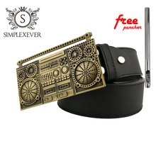 Fashion Men's Leather Belt Buckle Music Magnetic Brass Tape Hip Hop Rock for Men with