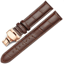 Rosegold Butterfly Buckle Leather Strap Bamboo Leather Strap Watch Band 14mm 16mm 18mm 19mm 20mm 21mm 22mm 24mm quality handmade genuine butterfly buckle lizard leather strap 18mm 21mm 22mm right brown leather strap