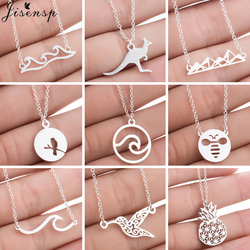 Stainless Steel Necklace Women Chokers Simple Cute Snow Mountain Pendant Bee Wave Hummingbird Necklaces Christmas Jewelry 2020