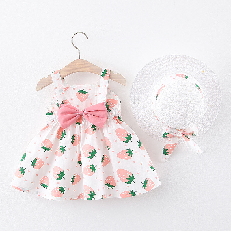 Baby Girls <font><b>Dresses</b></font> 2020 Summer Hat <font><b>2</b></font> Piece Set Children's Clothes Baby Sleeveless <font><b>Birthday</b></font> Party Princess Print <font><b>Dress</b></font> image