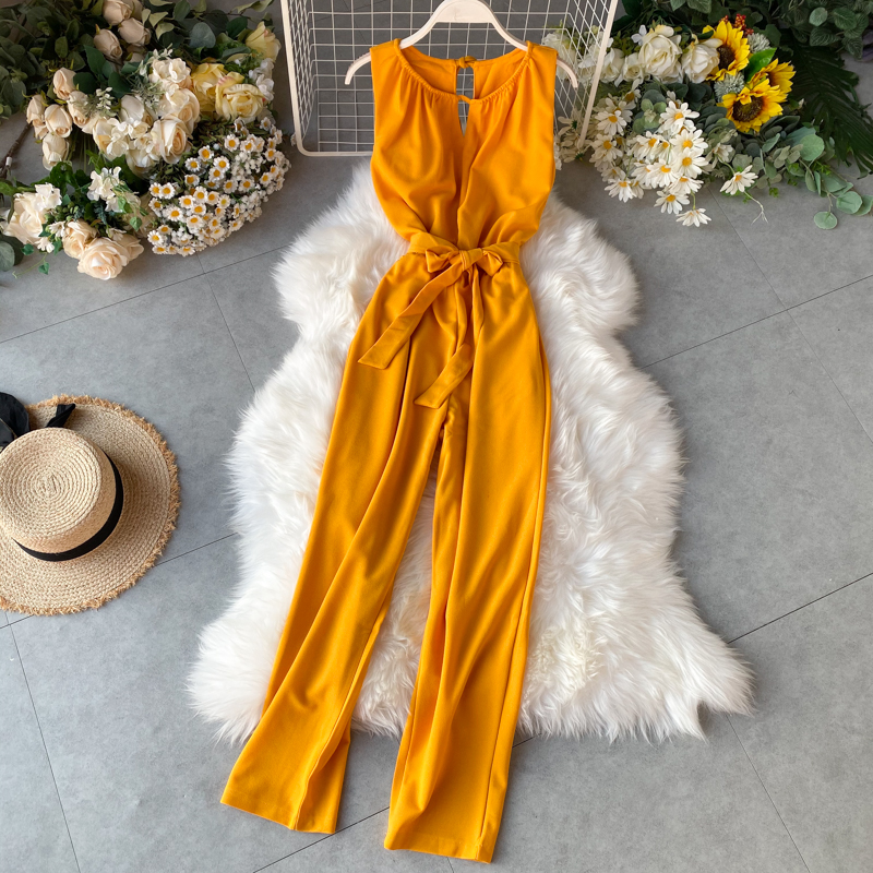 TAOVK Female Autumn Solid Color Hanging Neck Hollow Backless Straps High Waist Slimming Wide Legs Jumpsuit