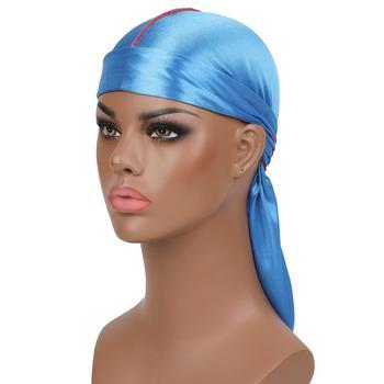 New Men's  Silky Durags Turban Bandanas Headwear Men Silk DuRag Doo Rag Pirate Hat Wave Caps Hair Accessories Durags  7 colors 4