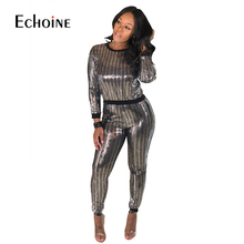 2019 Autumn 2 Piece Set Women Sequin Sexy Club party Outfits Long Sleeve Tops+Bodycon Pants Suits Casual Two Piece Matching Sets цена