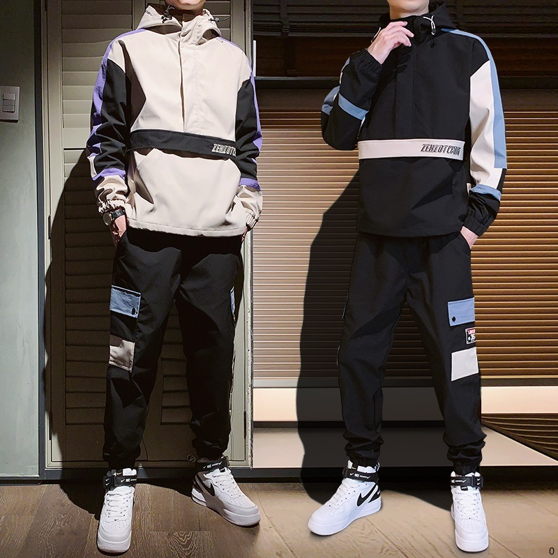 Men 2019 Autumn New Style Hoodie Loose-Fit Hooded Students Handsome Trend Spring And Autumn Sports Set Hip Hop Coat