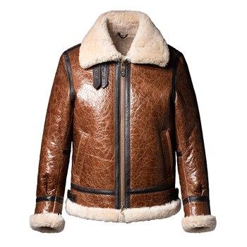 2020 Super Thicken Real Fur Shearling Men Winter Short B3 Flying Jackets Brown OIl Wax Cracked Natural Sheepskin Coats